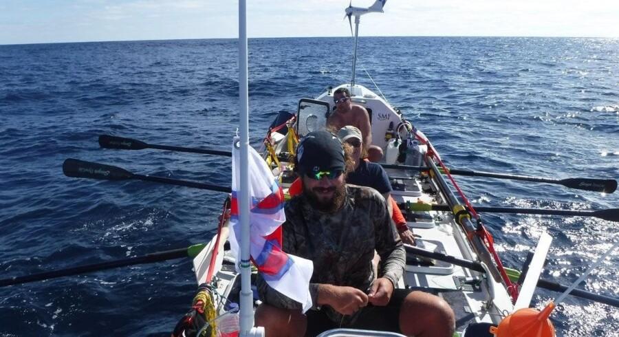 Disse fire færinger tilbagelagde knap 7800 sømil på deres vej fra Portugal til Cuba. Rowforwater.org/Free