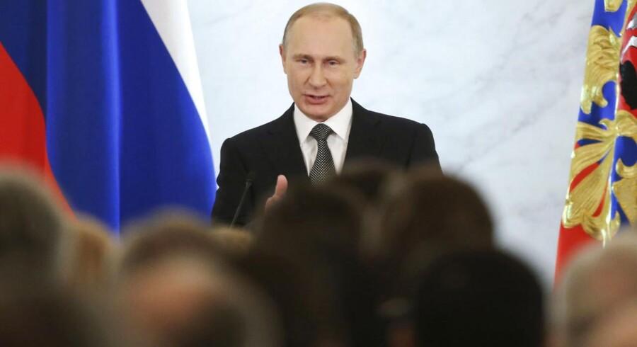 Vladimir Putin under den årlige tale om nationens tilstand.