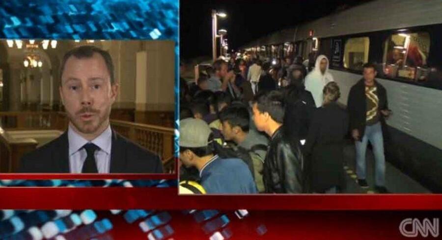 Screendump. Venstres politiske ordfører Jakob Ellemann-Jensen bliver interviewet på CNN.
