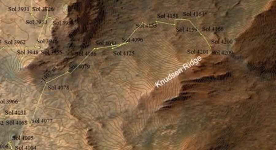 Bakkekammen på Mars får navnet »Knudsen Ridge« efter fysikeren Jens Martin Knudsen (1930-2005).