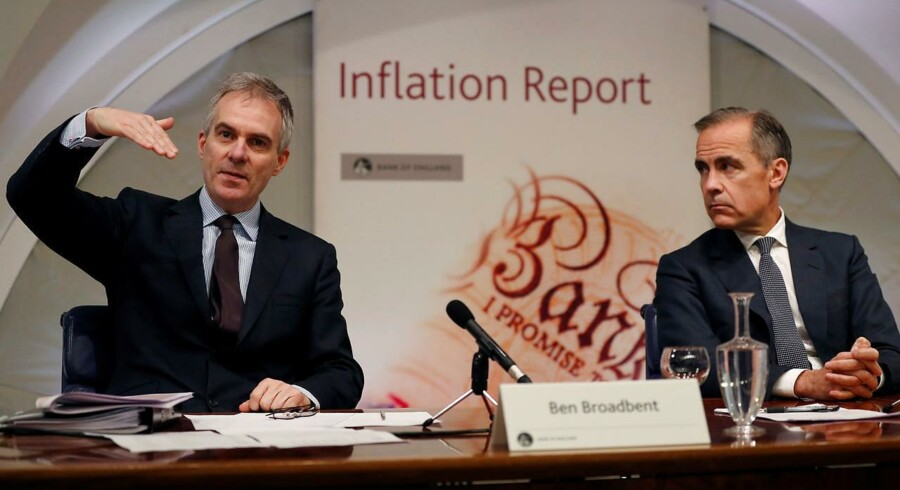 Bank of England Governor Mark Carney watches Deputy Governor for Monetary Policy Ben Broadbent speak during the central Bank's quarterly Inflation Report press conference at the Bank of England in the City of London, Britain May 11, 2017.REUTERS/Adrian Dennis/Pool