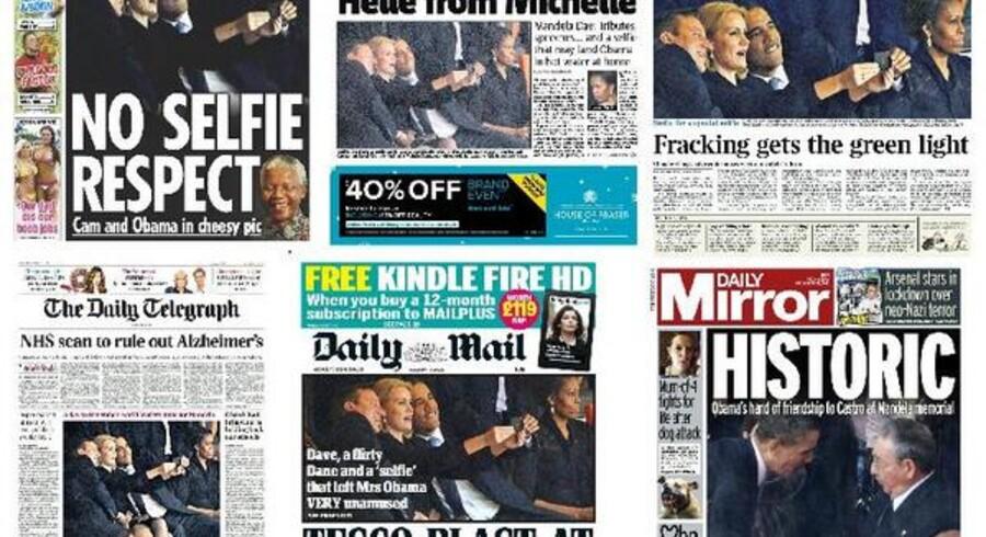Den danske statsminister trækker store overskrifter på flere af verdens største aviser dagen efter, at hun, David Cameron og Barack Obama tog et såkaldt selfie.