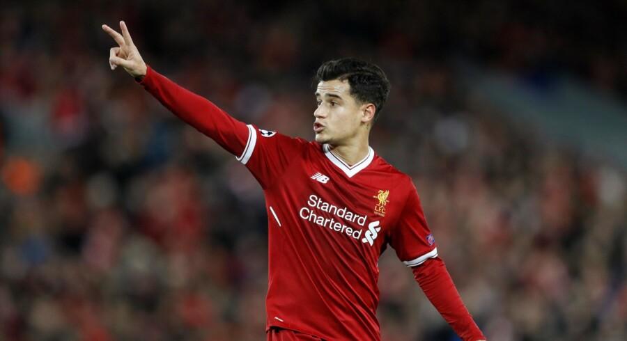 Liverpools Philippe Coutinho scorede tre mål, da Liverpool onsdag slog Spartak Moskva 7-0 i Champions League-gruppespillet. Scanpix/Carl Recine