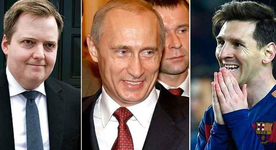 Islands statsminister, Sigmundur Gunnlaugsson, Ruslands præsident, Vladimir Putin og fodboldsstjernen Lionel Messi er blandt de involverede.