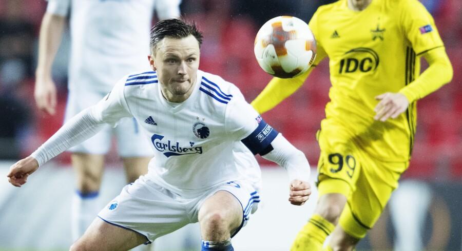 William Kvist og FC København spillede sig torsdag videre i Europa League med en 2-0-sejr over Sheriff Tiraspol fra Moldova. Mandag trækkes der lod til turneringens 16.-delsfinaler. Scanpix/Claus Bech