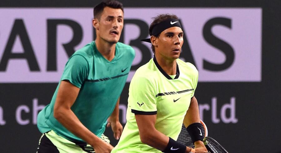 Rafael Nadal (forrest) mener, at Davis Cup-turneringen skal ændres, så den løber over en treårig periode. Scanpix/Jayne Kamin-oncea