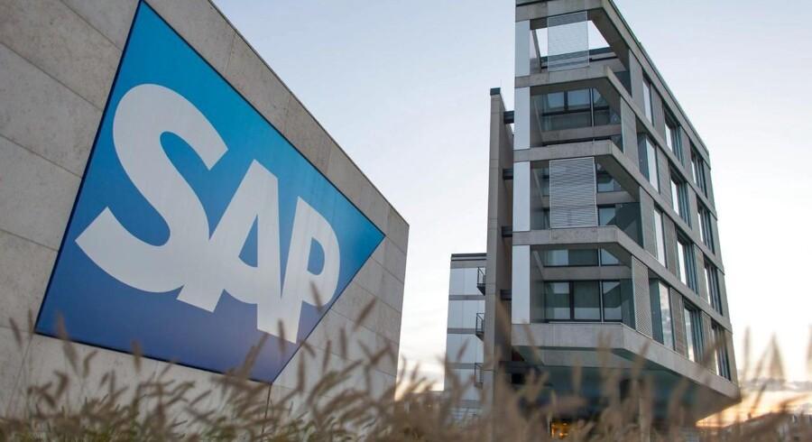 Tyske SAP, som har dansk topchef og hovedkvarter i Walldorf i Sydtyskland, melder sig ud som køber af Blackberry. Arkivfoto: Uwe Anspach, AFP/DPA/Scanpix