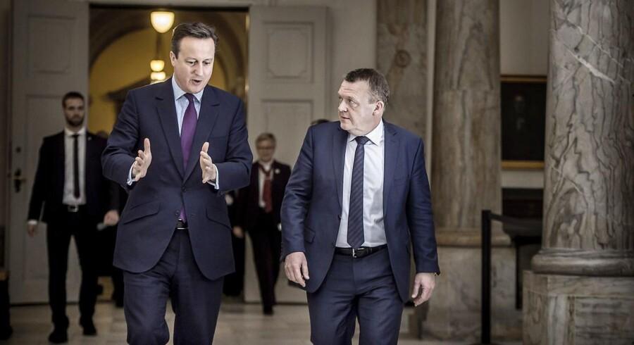 EU-top kæmper for at holde briterne i EU. Løkke støtter ubetinget britisk EU-aftale- - Storbritanniens premierminister David Cameron besøger statsminister Lars Løkke Rasmussen i Statsministeriet i København fredag den 5. februar 2016 (Foto: Thomas Lekfeldt/Scanpix 2016)