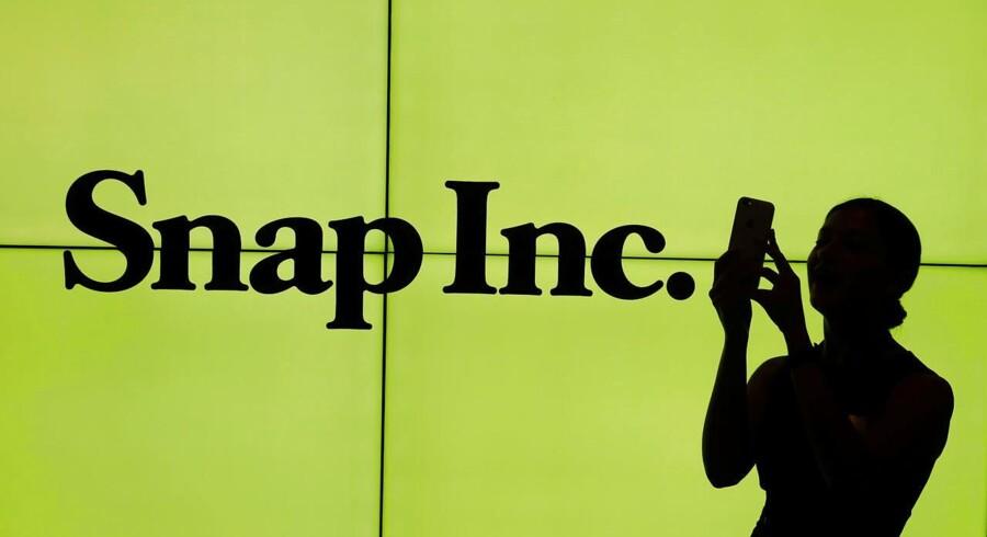 Amerikanske teknologiaktier har længe været pressede, og tirsdag falder Snapchats ejer, Snap INC, fra start på børsen. TPX IMAGES OF THE DAY