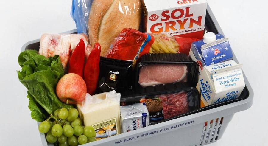 Indkøbskurv med madvarer.