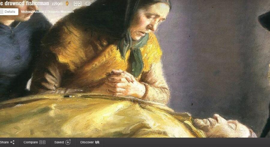 Malerier som Michael Anchers »Den druknede« fra 1896 er et af de malerier, som Skagens Museum har digitaliseret via Google Art Project. Via computerskærmen kan man tage sig en virtuel slentretur gennem museet og se på malerier og zoome ind på dem.