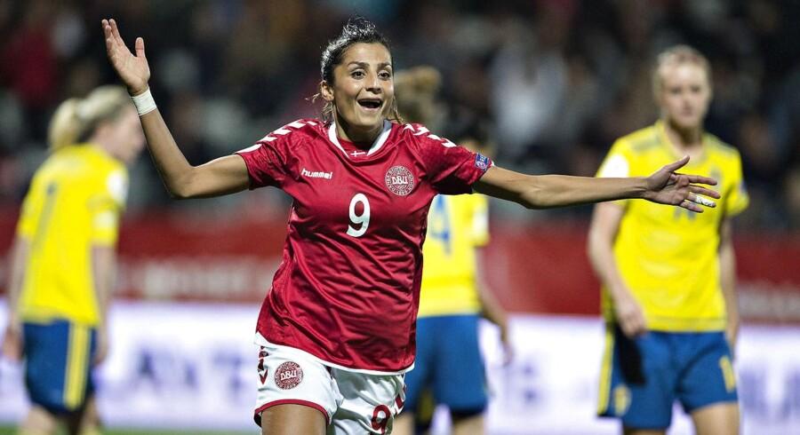 Arkivfoto: Danmarks Nadia Nadim har scoret til 2-0 i EM-kvalifikationen mellem Danmark - Sverige.