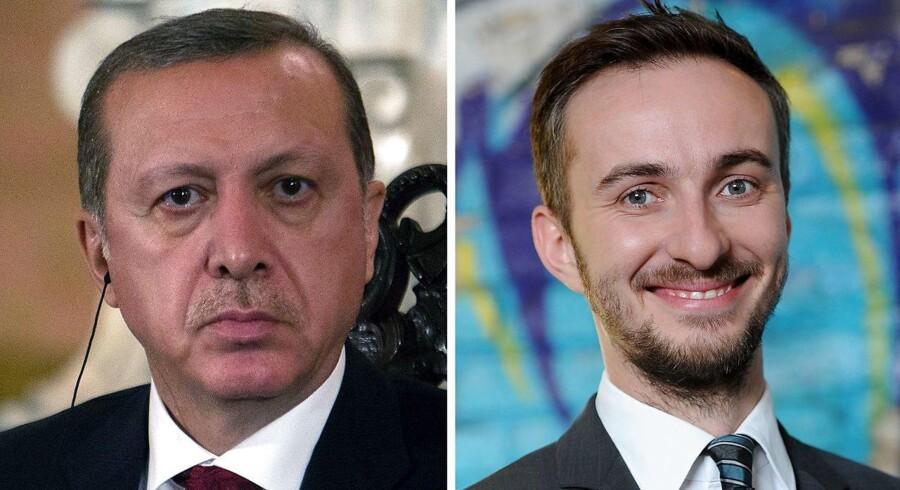 Den tyske komiker Jan Böhmermann (t.h.) overvejer at anke en dom, som forbyder ham at gentage store dele af et digt, som han skrev om Tyrkiets præsident, Recep Tayyip Erdogan.