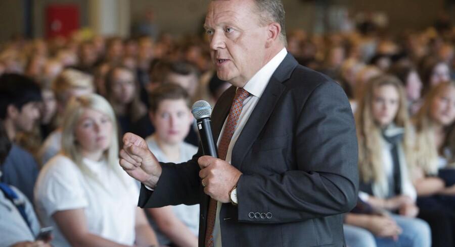 Statsminister Lars Løkke Rasmussen besøger Roskilde Katedralskole i forbindelse med helhedsplanen. Tirsdag den 30. august 2016.. (Foto: Claus Bech/Scanpix 2016)