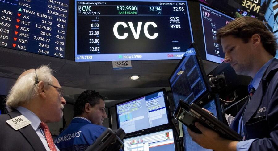 Handel af Cablevision, New York Stock Exchange, 17. september, 2015.
