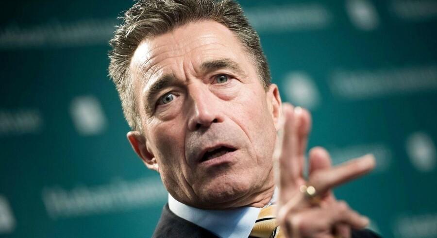 Det norske regeringsparti Fremskrittspartiet overvejer at pege på Anders Fogh Rasmussen som kandidat til den komité, der hvert år uddeler Nobels fredspris.. / AFP PHOTO / Brendan Smialowski