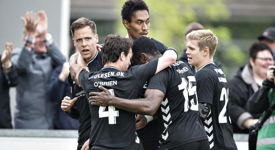 Vendsyssel FF - AC Horsens , Alka Superliga Playoff, Bredbånd Nord Arena, Hjørring, 4.juni : Horsens Kjartan Finnbogason (tv) har scoret til 2-0 (foto: Henning Bagger / Scanpix 2017)