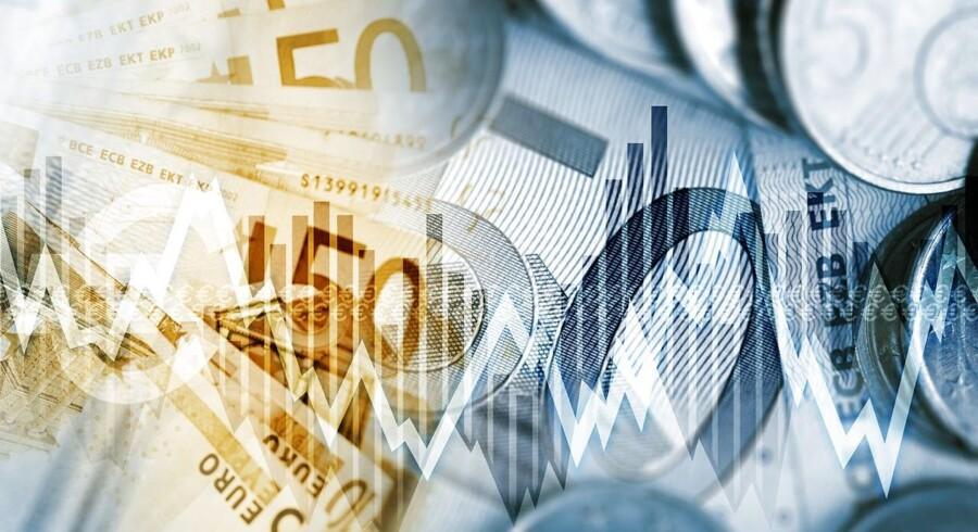 De brede europæiske aktieindeks, Stoxx 600, lå mandag først på eftermiddagen med et fald på 0,6 pct. i indeks 340 efter at have været oppe over 344 kort efter åbningen mandag.