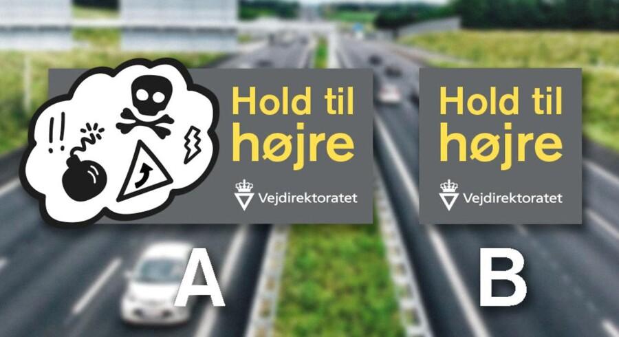 Bilister har på rastepladser langs motorvejene fået udleveret magnet-streamers til bilen, som nemt kan tages af igen. De er en del af Vejdirektoratets seneste Hold til højre-kampagne. Til venstre den nye streamer til bilen, til venstre vejskiltene