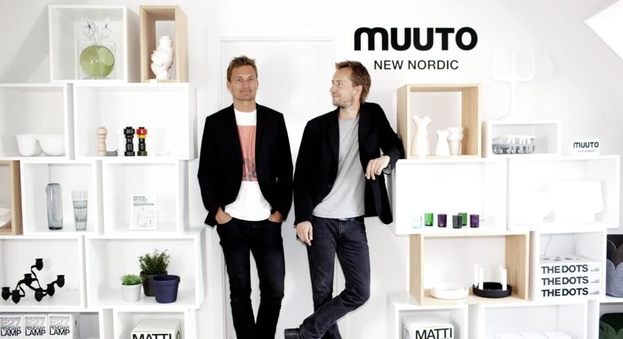 Kristian Byrge (tv.) og Peter Bonnén, stifterne af designvirksomheden Muuto, har store ambitioner om at fortsætte væksten i udlandet og med et særligt fokus på USA og Asien. Arkivfoto: Erik Refner