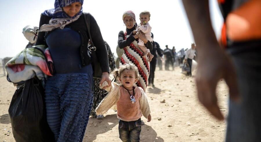 Kurdisk-syriske flygtninge ved den Syriske-Tyrkiske grænse d. 25. september 2014
