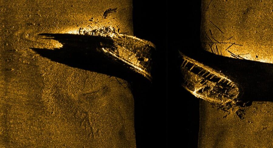En sonar-scanning viser en af de to skibe, der forsvandt for mere end 160 år siden, da Sir John Franklins ekspedition led en grum skæbne. Scanpix/Handout