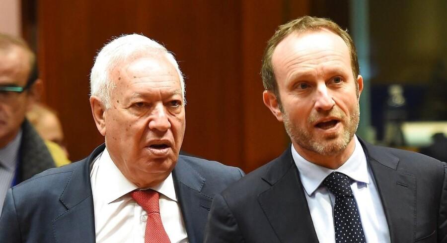 Udenrigsminister Martin Lidegaard er mandag til EU-møde. Her ses han sammen med den spanske udenrigsminister Jose Manuel Garcia-Margallo.