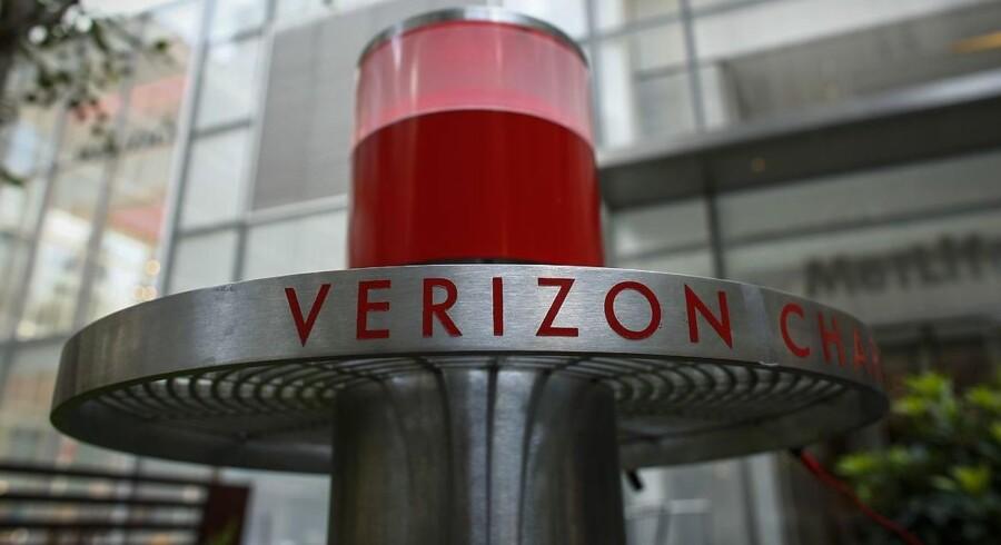 Gratis opladerstation på Verzion Plaza udenfor Verizons hovedkontor i New York. Foto: Kena Betancur
