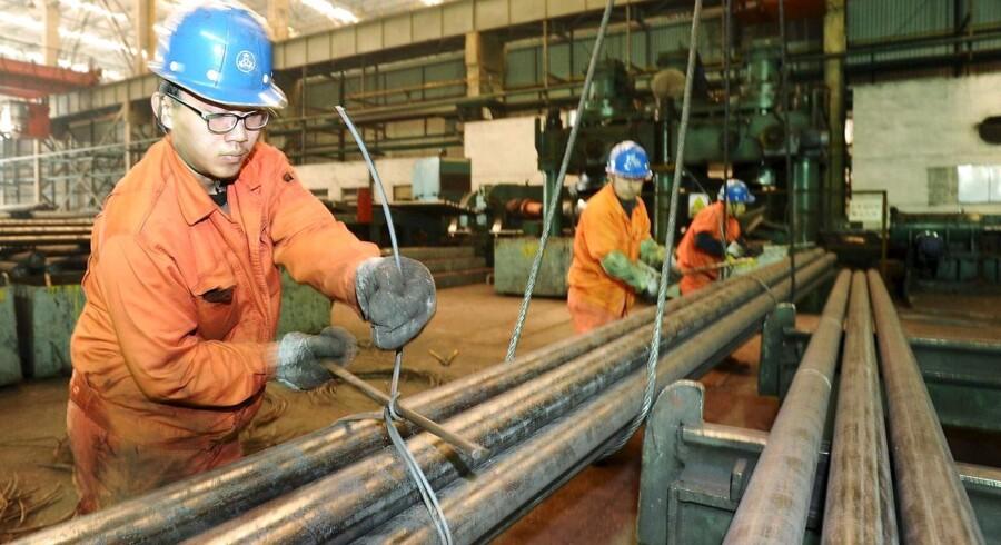 Det kinesiske PMI-indeks for fremstillingssektoren viste fortsat opbremsning og faldende aktivitet i april. Arkivfoto.