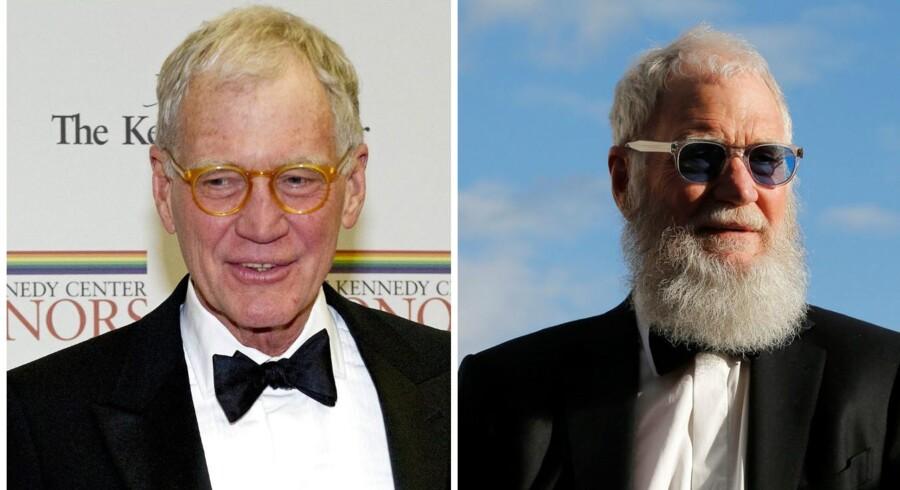 David Letterman før og nu. Den kendte skræmtrold har anlagt et stort fuldskæg siden han forlod skærmen i 2015. Foto: Ron Saschs / Pool og Brian Snyder / Reuters.
