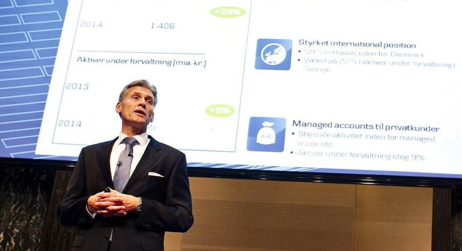 Topchef Thomas Borgen fremlægger 2014-regnskabet for pressen tirsdag formiddag.