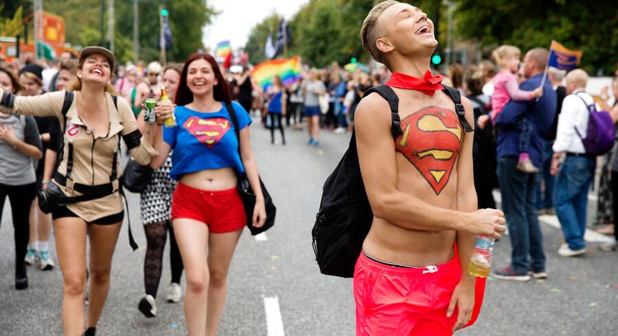 Optoget der markere afslutningen på Copenhagen Pride ugen går fra Rådhuset på Frederiksberg til Rådhuspladsen i København. 20. august 2016.