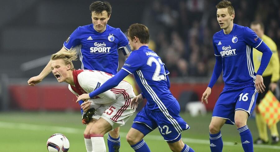 I sidste sæson kom FC København længst af de danske hold i Europa. Københavnerne nåede frem til ottendedelsfinalen i Europa League, hvor Kasper Dolberg og Ajax Amsterdam stod i vejen. Scanpix/John Thys