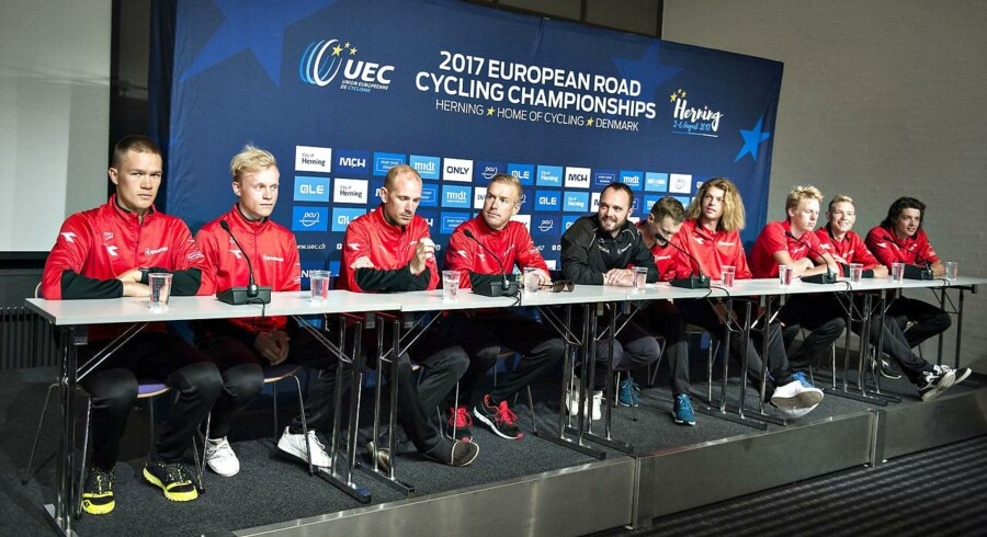 Det danske landshold med stjerner som bla. Magnus Cort, Michael Mørkøv, Matti Breschel, Christoffer Juul-Jensen, Mads Würtz Schmidt og Lars Bak.