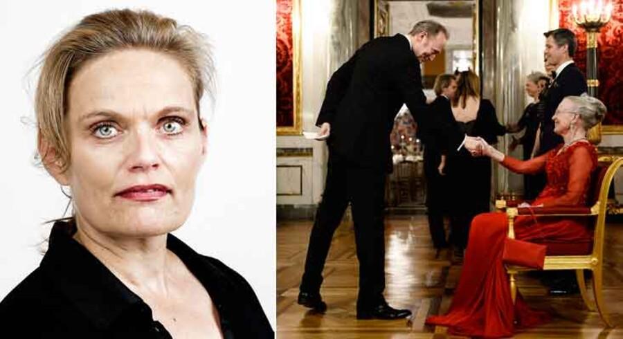 Sørine Gotfredsen (tv). Lars Mikkelsen til fest hos Dronnigen (th)