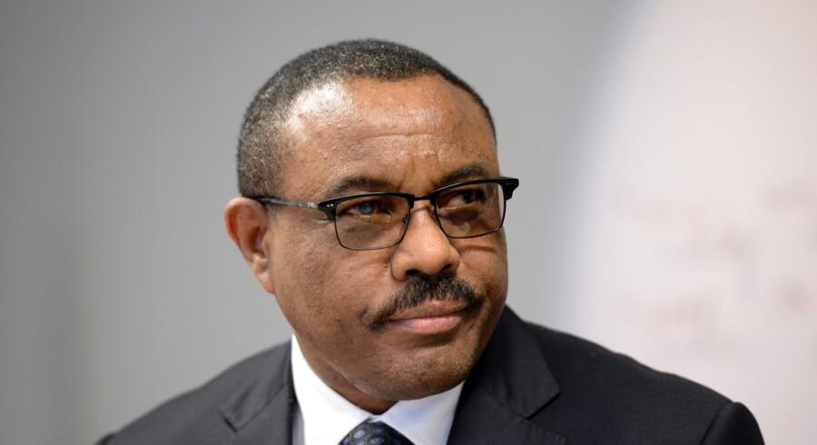 Etiopiens premierminister, Hailemariam Desalegn (billedet), hævder, at kun én person døde i selve branden i Kilinto-fængslet. Scanpix/Thierry Charlier