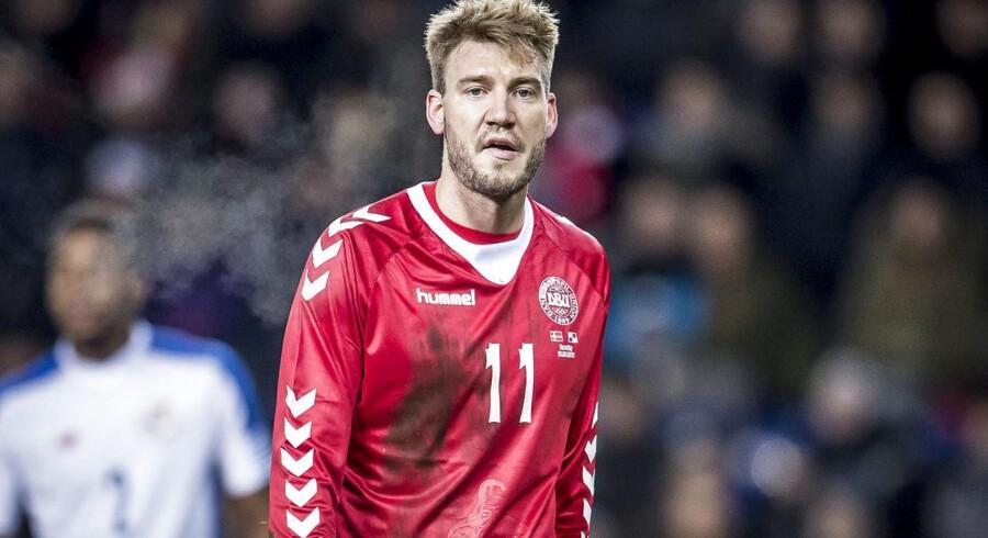 Danmarks Nicklas Bendtner (11) under venskabskampen mellem Danmark og Panama på Brøndby Stadion, torsdag den 22. marts 2018. Danmark vinder 1-0 over Panama.