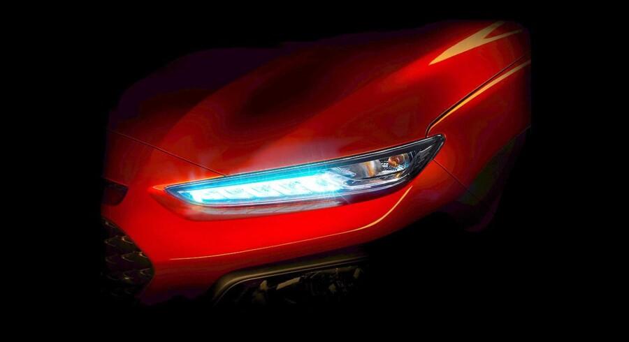 Teaserbillede viser ny Hyundai Konas forlygte.