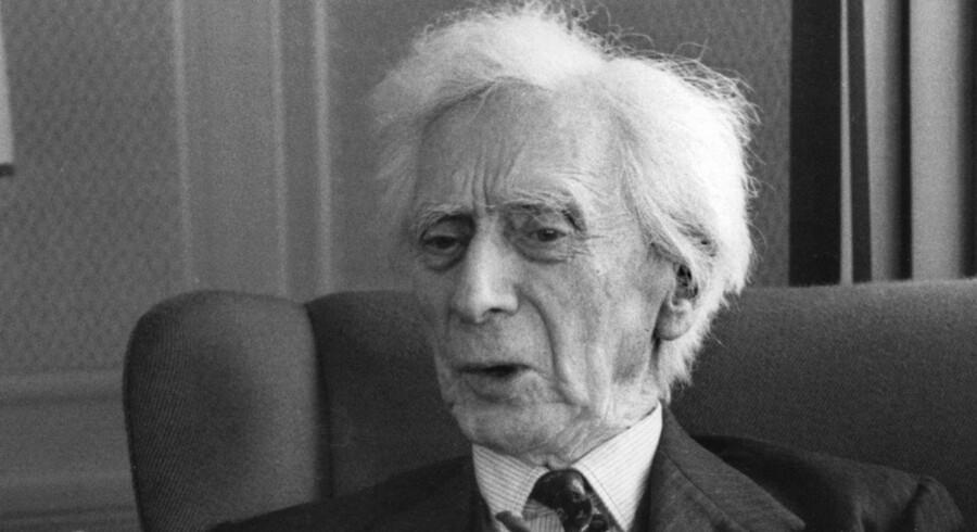 Den britiske filosof, matematiker og Nobelpristager i litteratur Bertrand Russell. Billedet er taget i slutningen af 1960'erne.