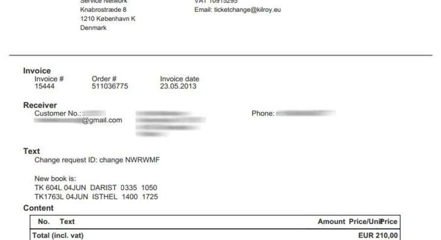 På fakturaen, der lå frit tilgængeligt på nettet, fremgår det, at den navngivne person havde ændret i sin rejse hos rejseselskabet Kilroy. Det fulde navn, adresse, e-mail, telefonnummer samt beløb var tilgængelige. Her var det også muligt at se flynumre, lufthavne og rejsetidspunkter for den nye rejse. Billedet er censureret af Version2.