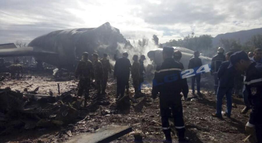 Militærfly er styrtet ned i Algeriet. 257 personer meldes ifølge statslige medier dræbt, skriver Reuters. (Foto: /Ritzau Scanpix)