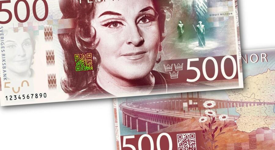 Den kommende 500-kroneseddel med afdøde Birgit Nilsson og et scenebillede fra Wagners opera »Valkyrien«. Foto: Sveriges Riksbank