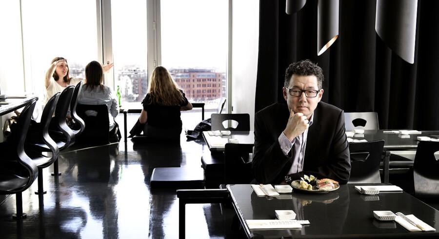 Kim Rahbek Hansen, manden bag virksomheden Sticks'n'sushi. Her fotograferet på Sticks n´ Sushi på toppen af Tivoli hotellet.