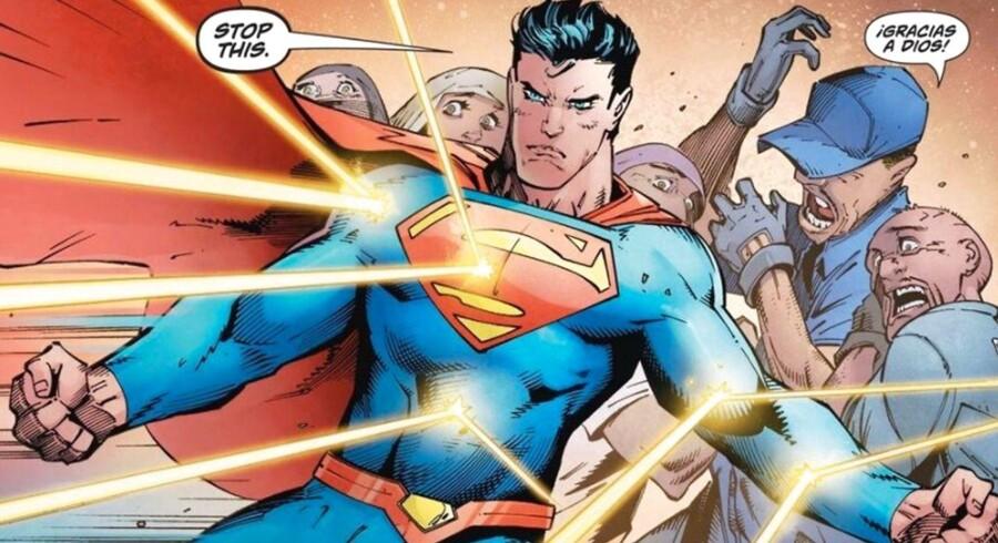 Superman beskytter migranter i USA. Billede fra Action Comics.