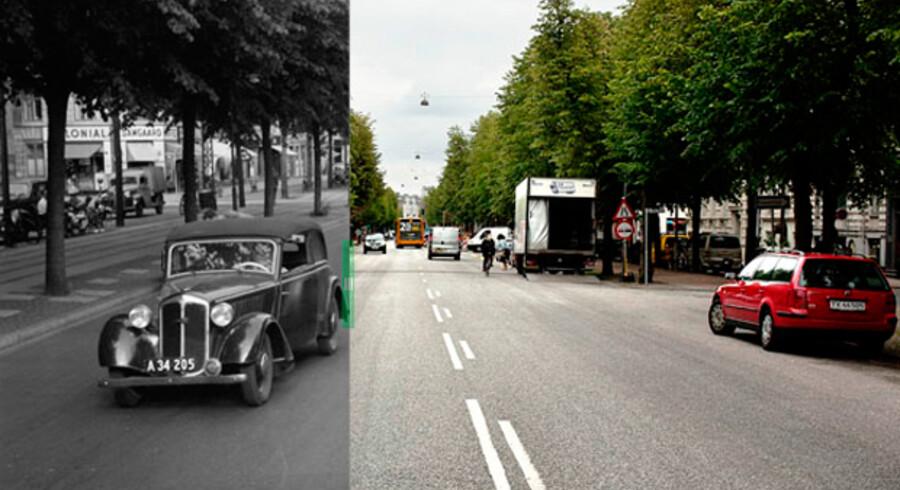 Frederiksberg Alle i 1955 og 2011.