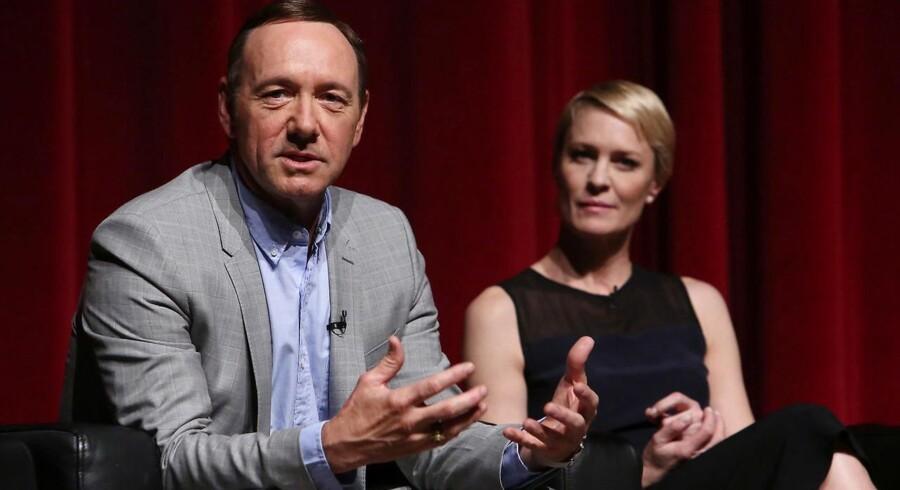 House of Cards er produceret af Netflix. Første sæson blev vist i 2013 med Kevin Spacey og Robin Wright i hovedrollerne. ARKIVFOTO.