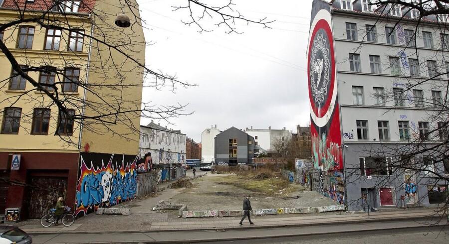 Den ubenyttede grund på Jagtvej 69, hvor Ungdomshuset tidligere lå.