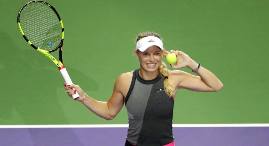 Caroline Wozniacki spiller søndag den 29. oktober finale ved WTA-sæsonfinalen i Singapore. Foto: REUTERS/Jeremy Lee