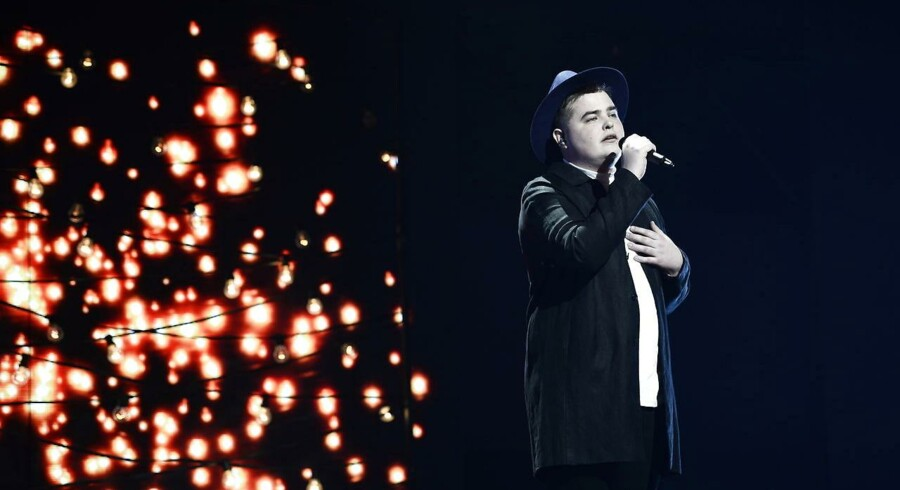 X Factor finale, Dr -Byen. Her er det deltager Morten. (Foto: Ida Guldbæk Arentsen/Scanpix 2017)