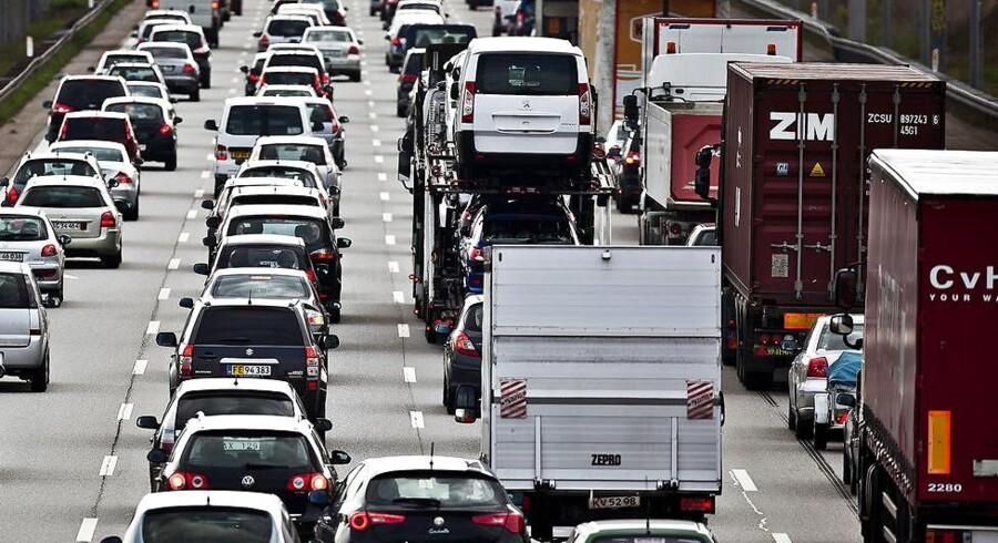 ARKIV: Danske lastbiler har haft mindre at lave de seneste fire kvartaler.